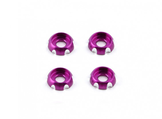 3mm Aluminium CNC-Rundkopf Washer - Purple (4 Stück)