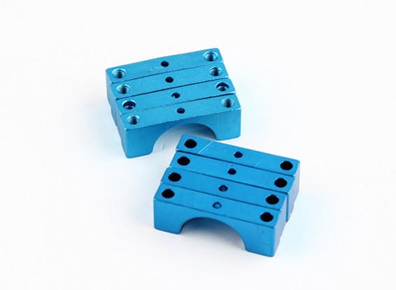 Blau eloxiert Doppelseitige CNC-Aluminiumrohrklemme 14 mm Durchmesser