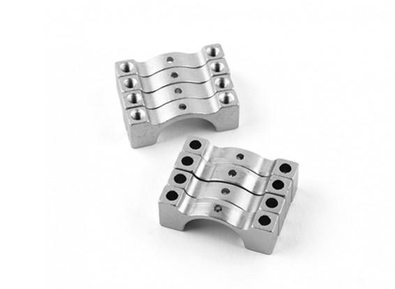 Silber eloxiert Doppelseitige CNC-Aluminiumrohrklemme 14 mm Durchmesser