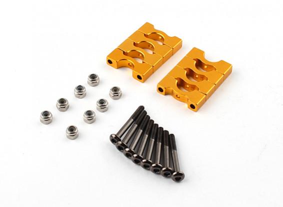 Gold eloxiert CNC Super Light Alloy Rohrklemme 8mm Durchmesser