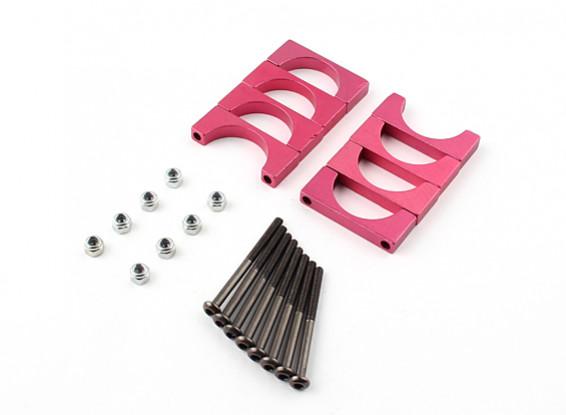 Rot eloxiert Doppelseitige CNC-Aluminiumrohrklemme 20 mm Durchmesser