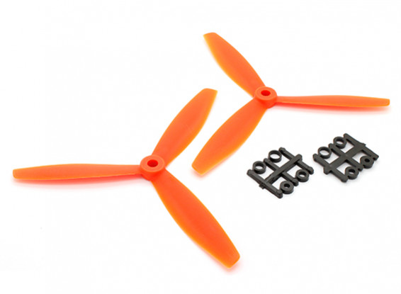 GemFan 6040 GFK-3-Blatt Propellers CW / CCW-Set Orange (1 Paar)