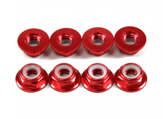 Flansch aus Aluminium Low Profile Nylocmutter M5 Rot (CCW) 8pcs