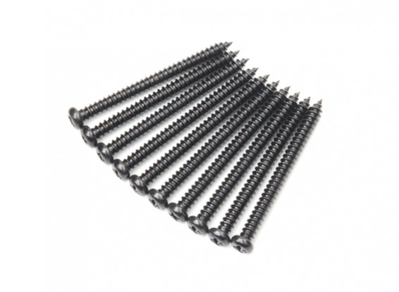 Screw Round Head Phillips M2.6x30mm Self Tapping Steel Black (10pcs)
