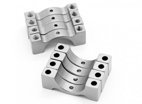 Silber eloxiert CNC-Halbrund-Legierung Rohrklemme (incl.screws) 12mm