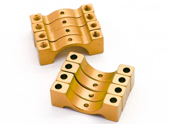 Gold eloxiert CNC-Halbrund-Legierung Rohrklemme (incl.screws) 14mm