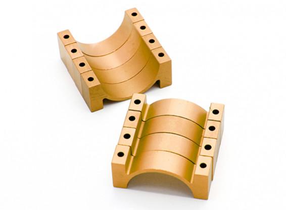 Gold eloxiert CNC Halbkreis Legierung Rohrschelle (incl.screws) 20mm