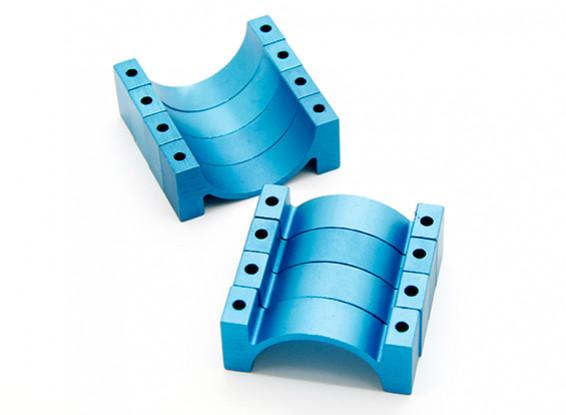 Blau eloxiert CNC Halbkreis Legierung Rohrschelle (incl.screws) 28mm