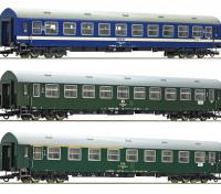 Roco/Fleischmann HO Scale 3 Piece D270 Meridian 2, DDR, CSD, MAV Carriages Set