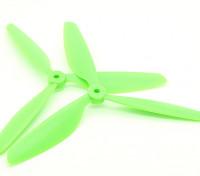 Hobbyking ™ 3-Blatt Propeller 9x4.5 Green (CW / CCW) (2 Stück)