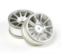 RiDE 1/10 Mini 10 Speichenrad 0mm Offset - Matt Silver (2 Stück)