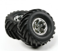 Hobbyking ® ™ 1/10 Crawler & Monster Truck 135mm Räder und Reifen (Silber Rim) (2 Stück)