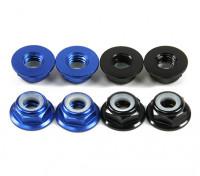 Flansch aus Aluminium Low Profile Nylocmutter M5 (4 Black CW & 4 Blue CCW)