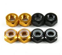 Aluminium Low Profile Nylocmutter M5 (4 Black CW & 4 Gold CCW)