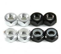 Aluminium Low Profile Nylocmutter M5 (4 Black CW & 4 Silver CCW)