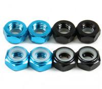 Aluminium Low Profile Nylocmutter M5 (4 Black CW & 4 Light Blue CCW)