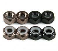 Aluminium Low Profile Nylocmutter M5 (4 Black CW & 4 Titanium CCW)