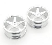 GPM Racing Kyosho Mini Inferno F / R Flach Felgen (5-polig) (Silber) (1 Paar)