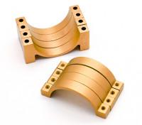 Gold eloxiert CNC Halbkreis Legierung Rohrschelle (incl.screws) 22mm