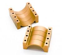 Schwarz eloxiert CNC-Halbrund-Legierung Rohrklemme (incl.screws) 30mm
