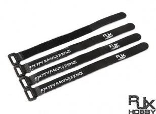 RJX Ultra-Grip Silicone Velcro Battery Straps Black (200X15mmx4pcs)