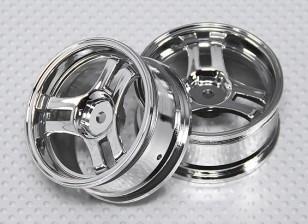 Maßstab 1:10 Rad Set (2 Stück) Chrom-Split 3-Speichen-RC Car 26mm (kein Offset)