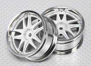 Maßstab 1:10 Rad Set (2 Stück) Weiß / Chrom-Split 5-Speichen- RC Car 26mm (kein Offset)
