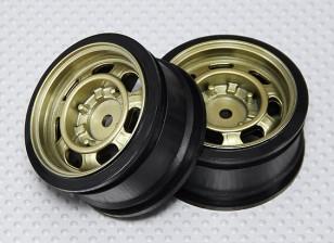 Maßstab 1:10 Rad Set (2 Stück) Gold klassischer Art RC Car 26mm (kein Offset)