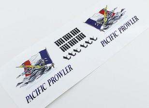 """TD-027-Nasen-Kunst - """"PACIFIC PROWLER"""" (Französisch Flagge) L / R Handed Aufkleber"""