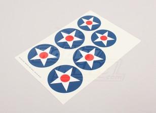 Skalieren Nationale Air Force Insignia Aufkleber Blatt - USA (Typ A)