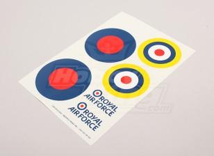 Skalieren Nationale Air Force Insignia Aufkleber Blatt - UK (große Typ B)