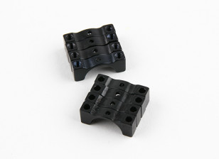 Schwarz eloxiert Doppelseitige CNC-Aluminiumrohrklemme 12 mm Durchmesser
