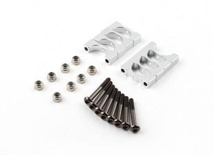 Silber eloxiert CNC Super Light Alloy Rohrklemme 12 mm Durchmesser (4set)