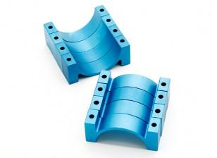 Blau eloxiert CNC-Halbrund-Legierung Rohrklemme (incl.screws) 30mm
