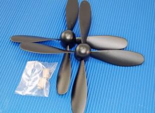 Hobbyking ™ 4-Blatt Propeller 7x3.2 Schwarz (CCW) (1pc)