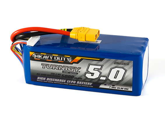 Turnigy Heavy Duty 5000mAh 7S 60C Lipo Pack w/XT90