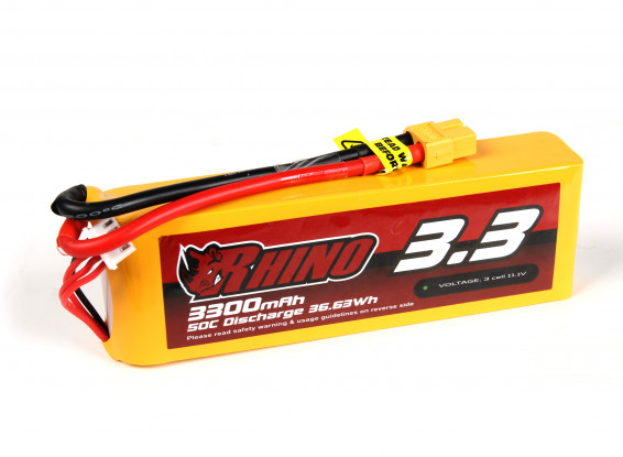 Rhino 3300mAh 3S 50C Lipo Pack w/XT60