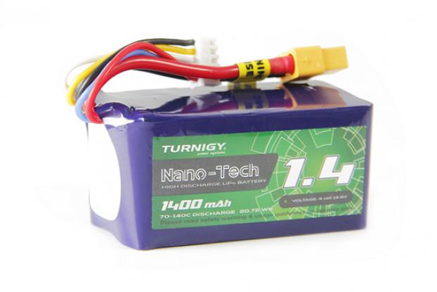 Turnigy Nano-Tech Plus 1400mAh 4S 70C Lipo Pack w/XT60