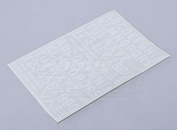 Letras / números / símbolos 26mm blanco