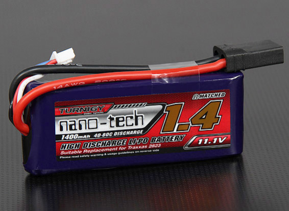 Turnigy nano-tech 1400mah 3S 40 ~ 80C Lipo Pack (TRA2823 Traxxas compatibles 1/16)