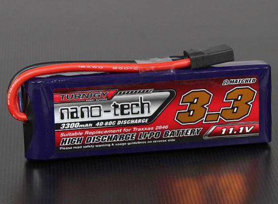 Turnigy nano-tech 3300mAh 3S 40 ~ 80C Lipo Pack (raya vertical / Abigeo / Bandit / Estampida compatibles)