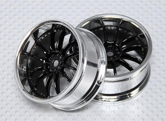 Escala 1:10 Juego de ruedas (2pcs) Negro / Cromo de Split y 6 Rayos RC 26 mm de coches (3 mm de desplazamiento)
