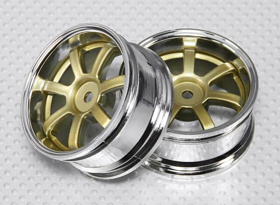 Escala 1:10 Juego de ruedas (2pcs) Cromo / Oro y 7 rayos 26mm RC Car (3 mm Offset)