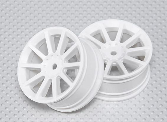 01:10 ruedas para fijar la escala (2 unidades) Blanco 10 radios de 26 mm RC Car (sin compensación)