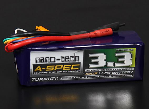 Turnigy nano-tecnología A-Spec 3300mAh 6S 65 ~ 130C Lipo Paquete