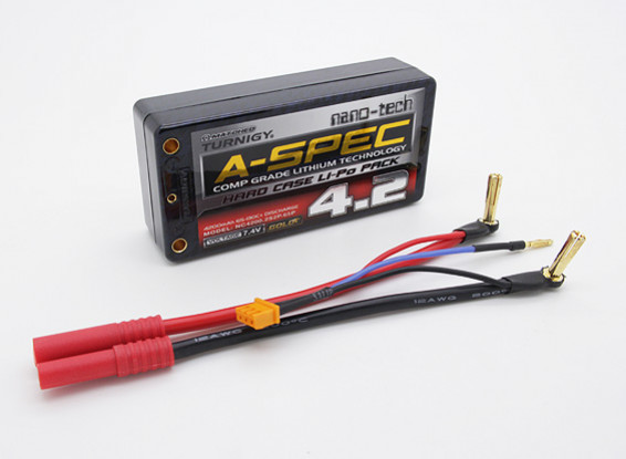 Turnigy nano-tech 4200mah A-SPEC 2S 65 ~ 130C Estuche Lipo paquete de Shorty