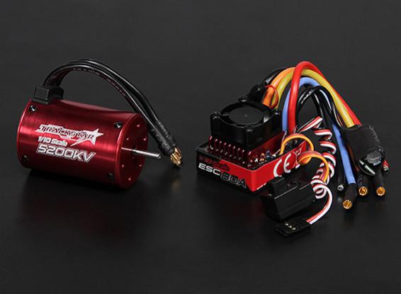 Turnigy TrackStar impermeable 1/10 sin escobillas de alimentación del sistema 5200KV / 80A