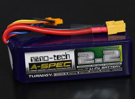 Turnigy nano-tecnología A-Spec 2200mAh 6S 65 ~ 130C Lipo Paquete