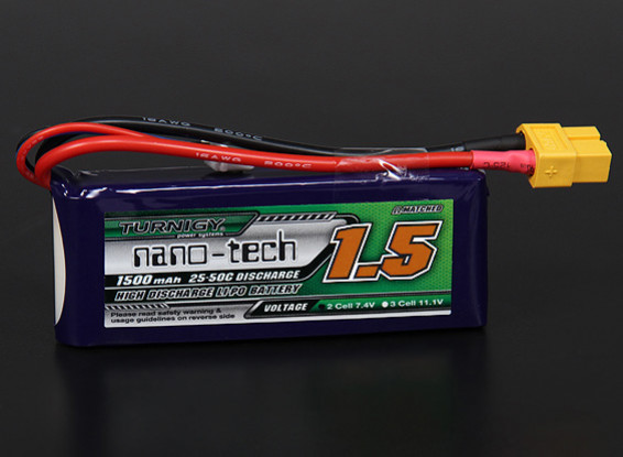 Turnigy nano-tech 1500mah 2S 25 ~ 50C Lipo Pack de