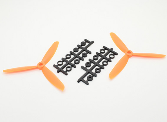 Hobbyking ™ 3 pala de la hélice 5x4.5 Orange (CW / CCW) (2pcs)